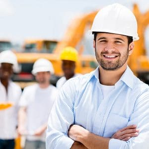 a construction worker who is smiling