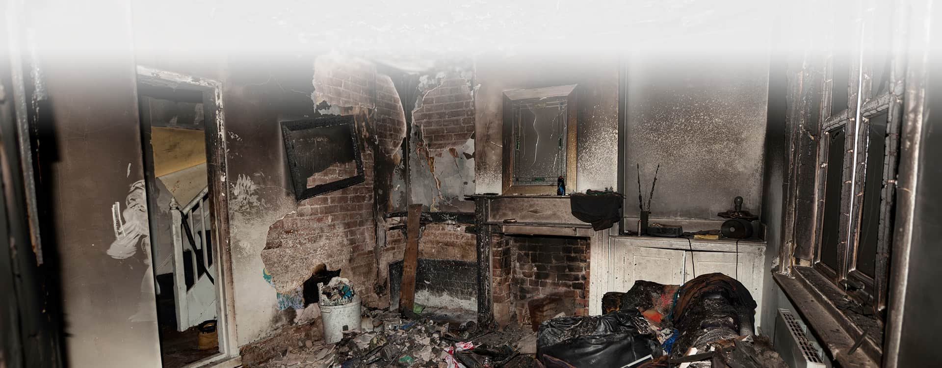smoke and fire damage in home